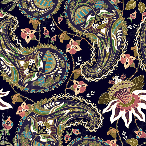 Colorful Paisley pattern for textile, cover, wrapping paper, web Canvas Print