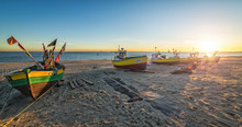 Autumn Panorama Landscape With Fishermans Boats By The Sea
