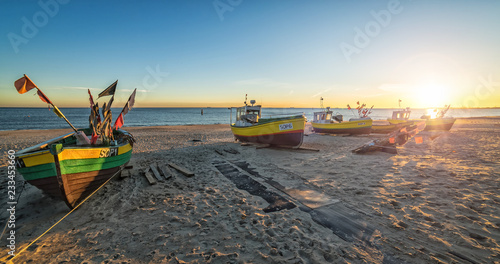 Obraz Autumn panorama landscape with fishermans boats by the sea - fototapety do salonu