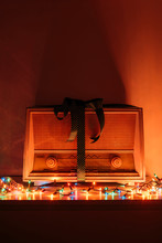 Vintage Radio Receiver And Colorful Lights