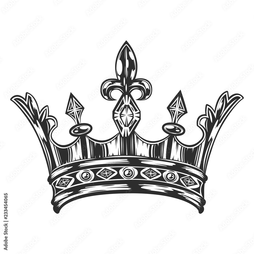 Fototapeta Vintage royal crown template monochrome style isolated vector illustration