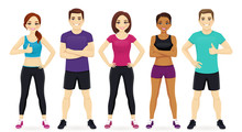 Group Of Fitness People In Sportswear Set Vector Illustration