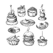 Finger Food Vector Drawings. F...