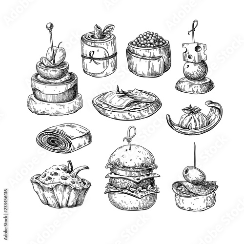 Tela Finger food vector drawings. Food appetizer and snack sketch. Ca