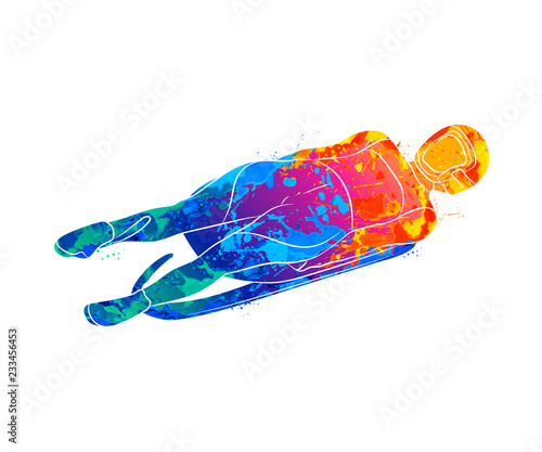 Tablou Canvas Abstract Luge sport winter sports from splash of watercolors