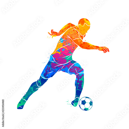 abstract-soccer-player-running-with-the-ball-from-splash-of-watercolors