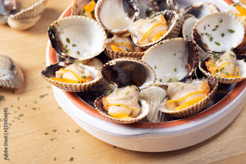 Cooked cockles Tasty appetizer. Steamed cockles Close up Canvas Print