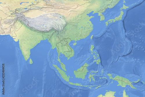 Physical map of countries in South East Asia - detailed ...