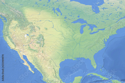Physical map of the United States of America - detailed topography ...