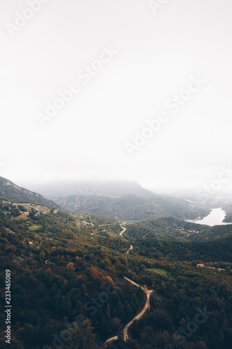 Foto op Aluminium Wit Landscape with mountains and clouds in Pyrenees