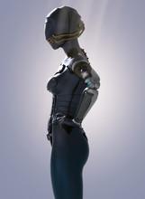 Futuristic Female Punk Cyborg - 3D Rendering