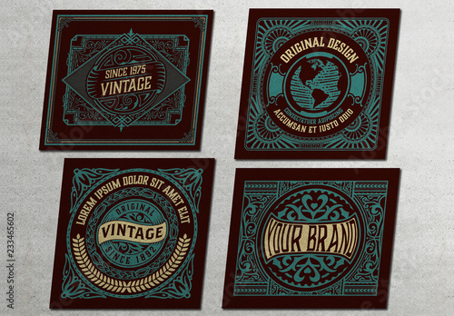 4 vintage style packing label layouts buy this stock template and