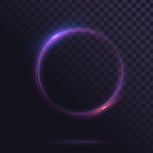 Glowing Circle. Round Shiny Frame On A Transparent Background