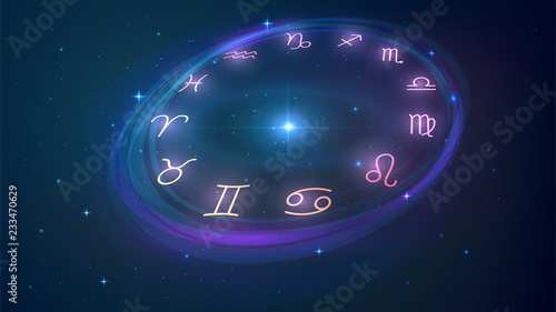 Photo Wheel with twelve signs of the zodiac in night sky, astrology, esotericism, prediction of the future