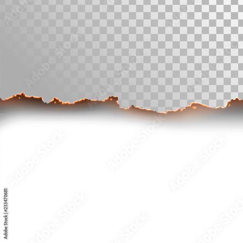 Fotografiet Seamless horizontal edge of burning paper