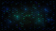 Abstract Dark Background With Green Luminous Hexagons, Technology, Neon