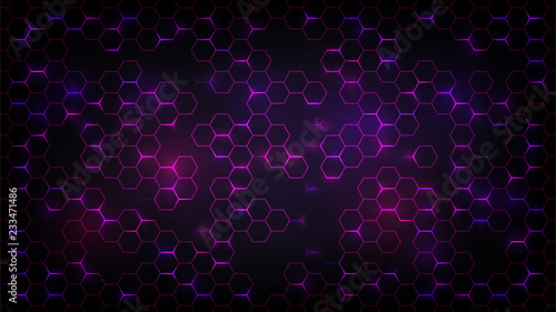 Obraz Abstract dark background with purple luminous hexagons, technology, neon - fototapety do salonu