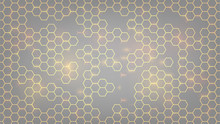 Abstract Background With Orange Luminous Hexagons, Honeycombs