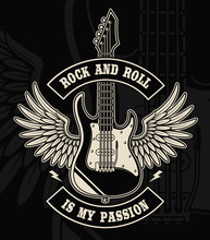 Rock And Roll Guitar With Wing...