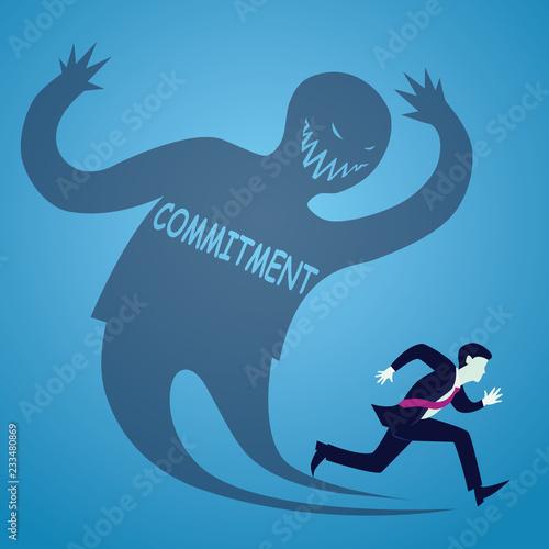 Fotografía  Businessman Afraid Run From Commitment