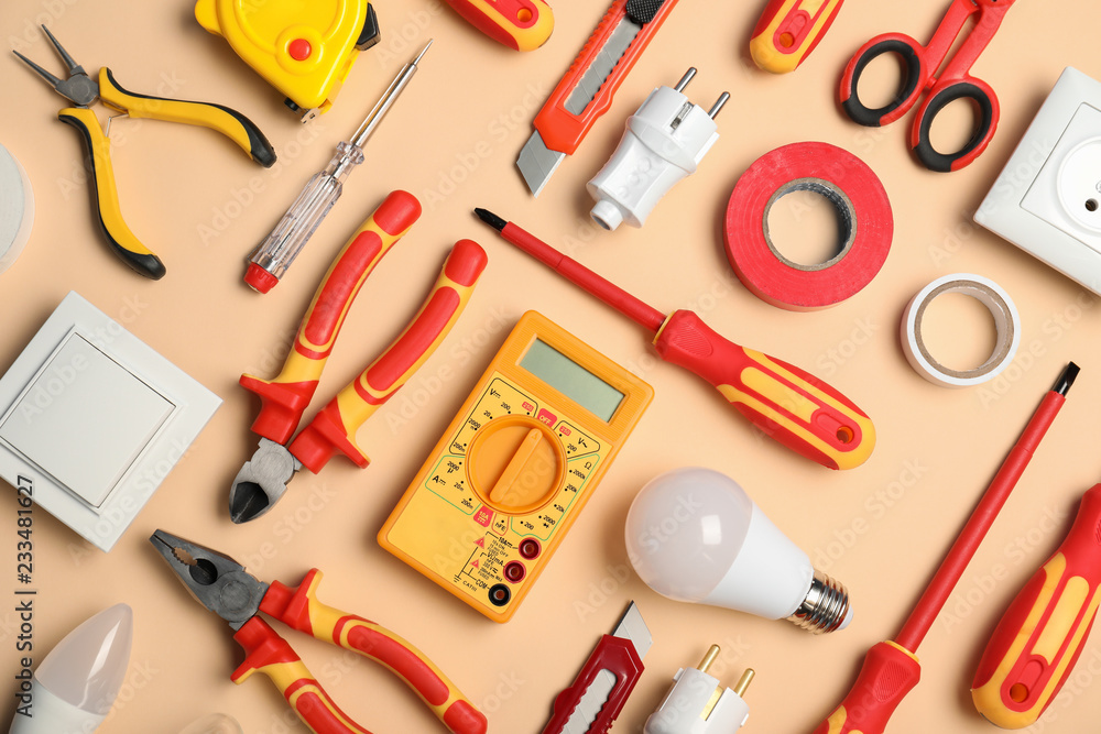 Fototapety, obrazy: Flat lay composition with electrician's tools on color background