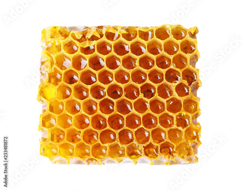 Fresh honeycomb on white background, top view