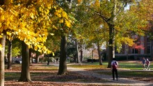 Athens, GA - October 21, 2018: Dolly Left To Right Of Some Students Walking Through North Campus Of The University Of Georgia In Athens, GA On A Beautiful And Colorful Fall Day.