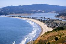 Aerial View Of Stinson Beach And Bolinas Lagoon, Marin County, North San Francisco Bay Area, California
