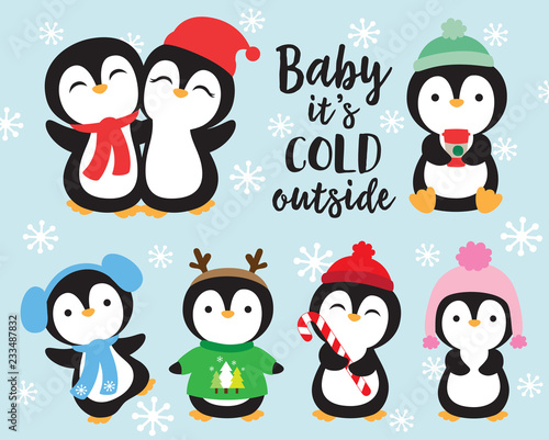 Fototapeta Cute baby penguins in winter outfits vector illustration