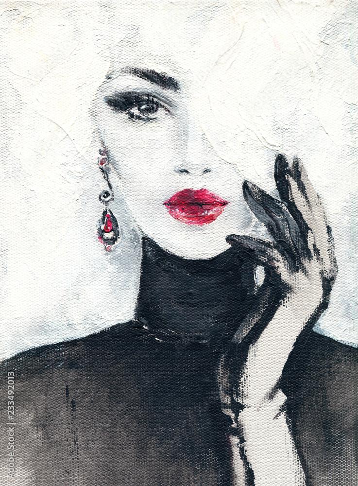 Fototapety, obrazy: Śliczna kobieta, Malarstwo akwarelowe