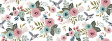 Vector Illustration Of A Seamless Floral Pattern With A Bird In Spring For Wedding, Anniversary, Birthday And Party. Design For Banner, Poster, Card, Invitation And Scrapbook