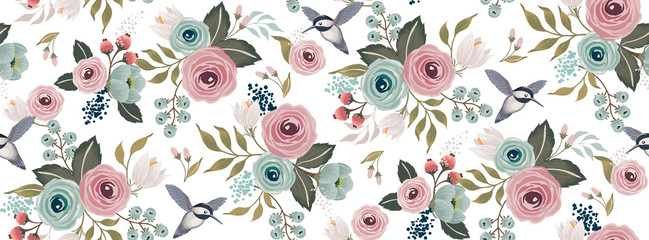 Vector illustration of a seamless floral pattern with a bird in spring for We...