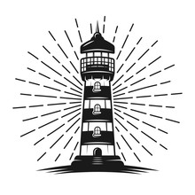 Lighthouse With Rays Vector Bl...