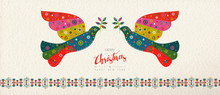 Christmas And New Year Scandinavian Bird Banner