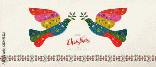 Fotografija  Christmas and New Year scandinavian bird banner