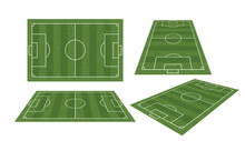 Soccer Field Or Football Field Collection Isolated On White Background. Perspective Elements. Vector.