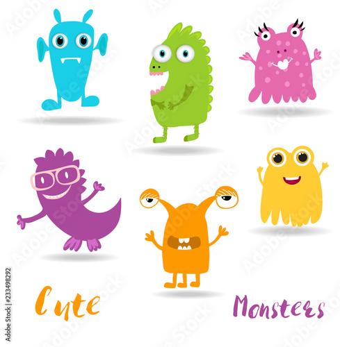Fotobehang Schepselen Cute Cartoon Monsters