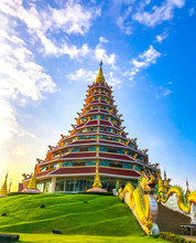 Wat Huai Pla Kung Temple In Blue Sky, Thailand