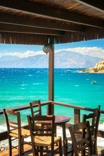 Table On The Terrace Of The Restaurant At The Matala Beach On The Island Of Crete, Greece