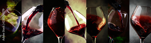Red wine, alcohol collection in glasses. Wine tasting. Drink background. Close-up, Photo collage