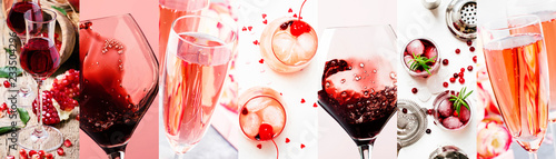 Fotografia, Obraz Red and pink alcoholic beverages, wine, champagne and liqueurs, berry and fruit cocktails