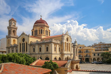 Heraklion, Greece, 10.01.2018. St. Mina Cathedral Is One Of The Main Cathedrals Of The City Of Heraklion On The Island Of Crete In Greece.