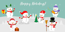 New Year And Christmas Card. Set Of Six Cute Snowmen In Different Hats And Poses In Winter. Christmas Tree, Gifts, Confetti, Skates And Ice. Cartoon Style, Vector