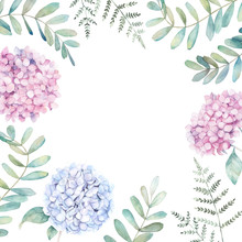 Wedding Floral Frame With Eucalyptus Branch, Fern And Hydrangea. Watercolor Hand Drawn Illustration