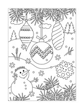 Winter Holidays Joy Themed Coloring Page With Christmas Tree Ornaments And Cute Cheerful Snowman