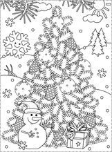 Winter Holidays, New Year Or Christmas Joy Themed Coloring Page With Christmas Tree, Cheerful Snowman, Gift Box