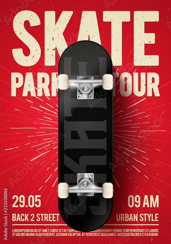 Vector Illustration Vintage Urban Skateboarding Festival Event Design Poster Flyer with Skateboard. Skate Park Tour Background with Grunge Effects.