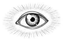 Human Eye With Rays Tattoo Han...