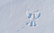 Snow Angel's Print On A Snowcovered Area. Aerial Foto.