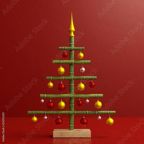 Lustiger Weihnachtsbaum Aus Bambus Mit Dekoration Buy This Stock